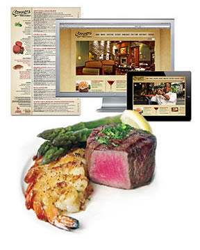 Branding, website design, menu design, food photography, advertising, event displays, SEO, signage for Connors Steak & Seafood (each location averages $5m in annual sales).