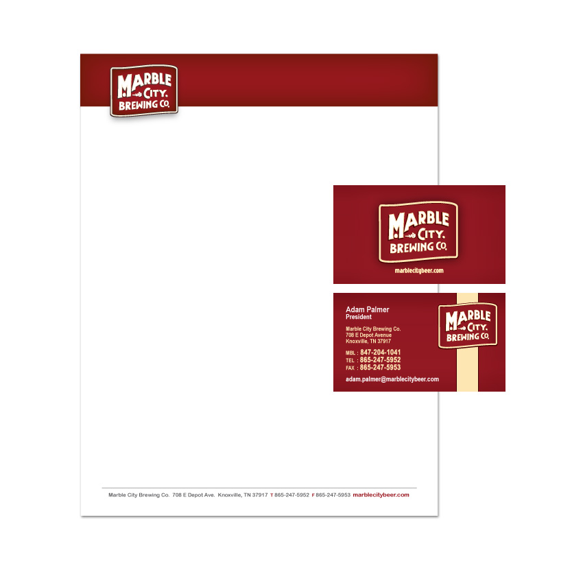 Illustration graphic design print layout brochures logo letterhead and business cards for the marble city brewing co reheart